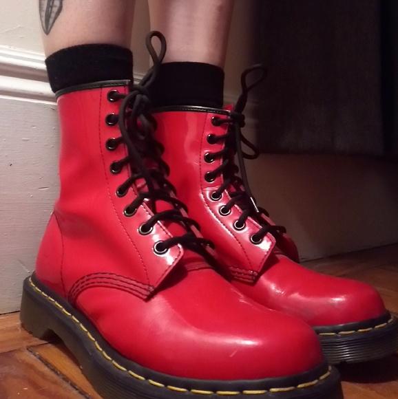 fb185e413a41 Dr. Martens Shoes - Bright Red Dr. Marten Boots